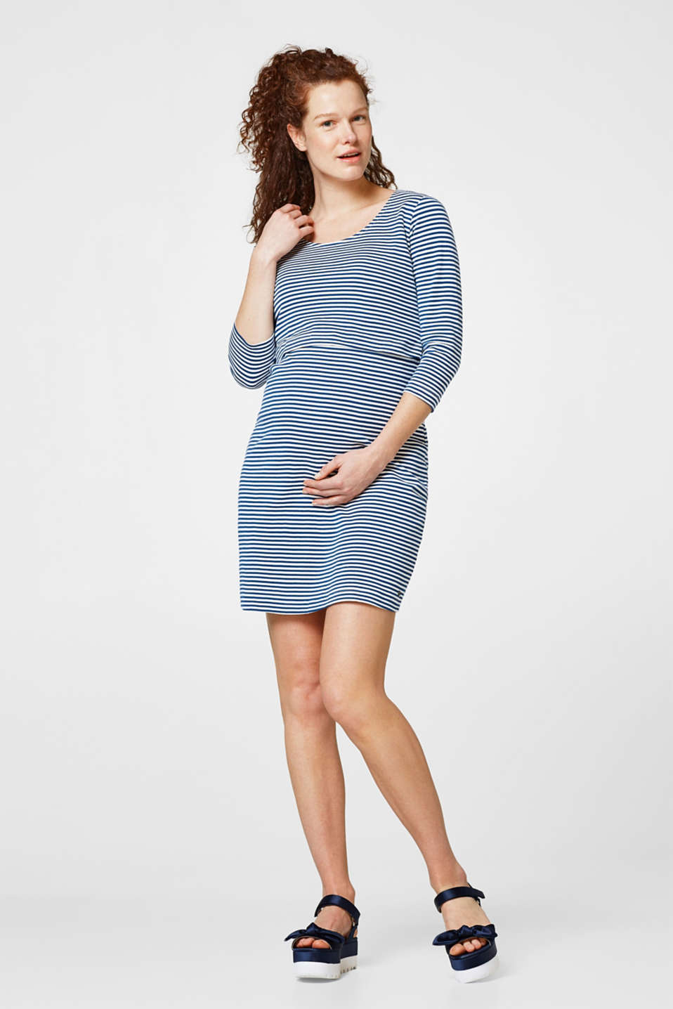 Nautical cotton dress with nursing function