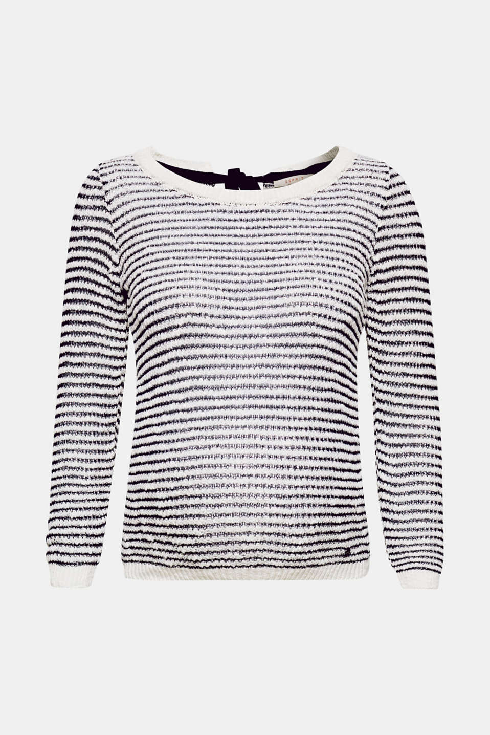 We love knitwear! This lightweight, striped jumper stands out thanks to its airy knit and bow detail.