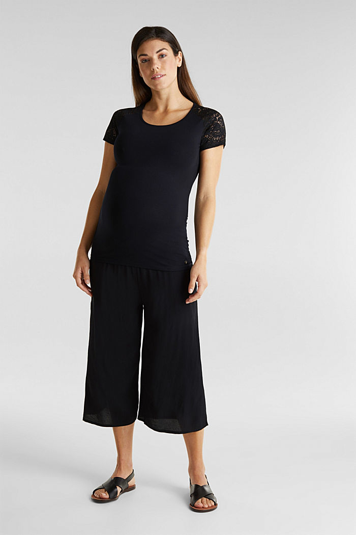 Crêpe culottes with an under-bump waistband, BLACK, detail image number 0