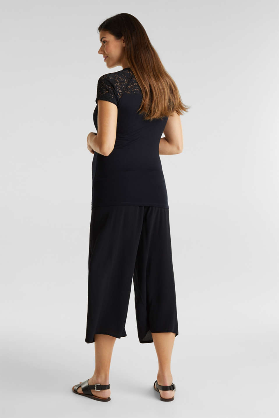 Crêpe culottes with an under-bump waistband, LCBLACK, detail image number 3