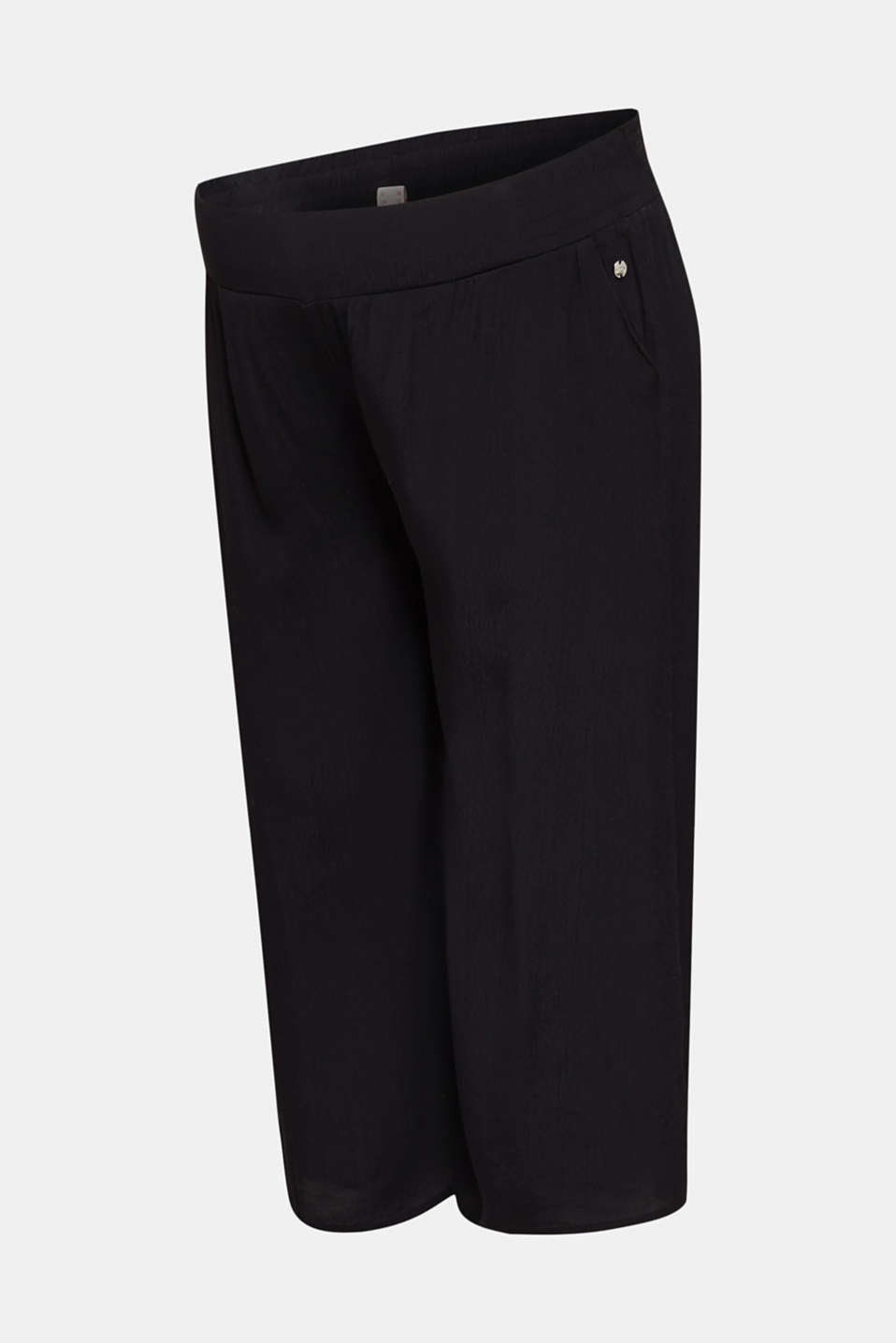 Crêpe culottes with an under-bump waistband, LCBLACK, detail image number 4