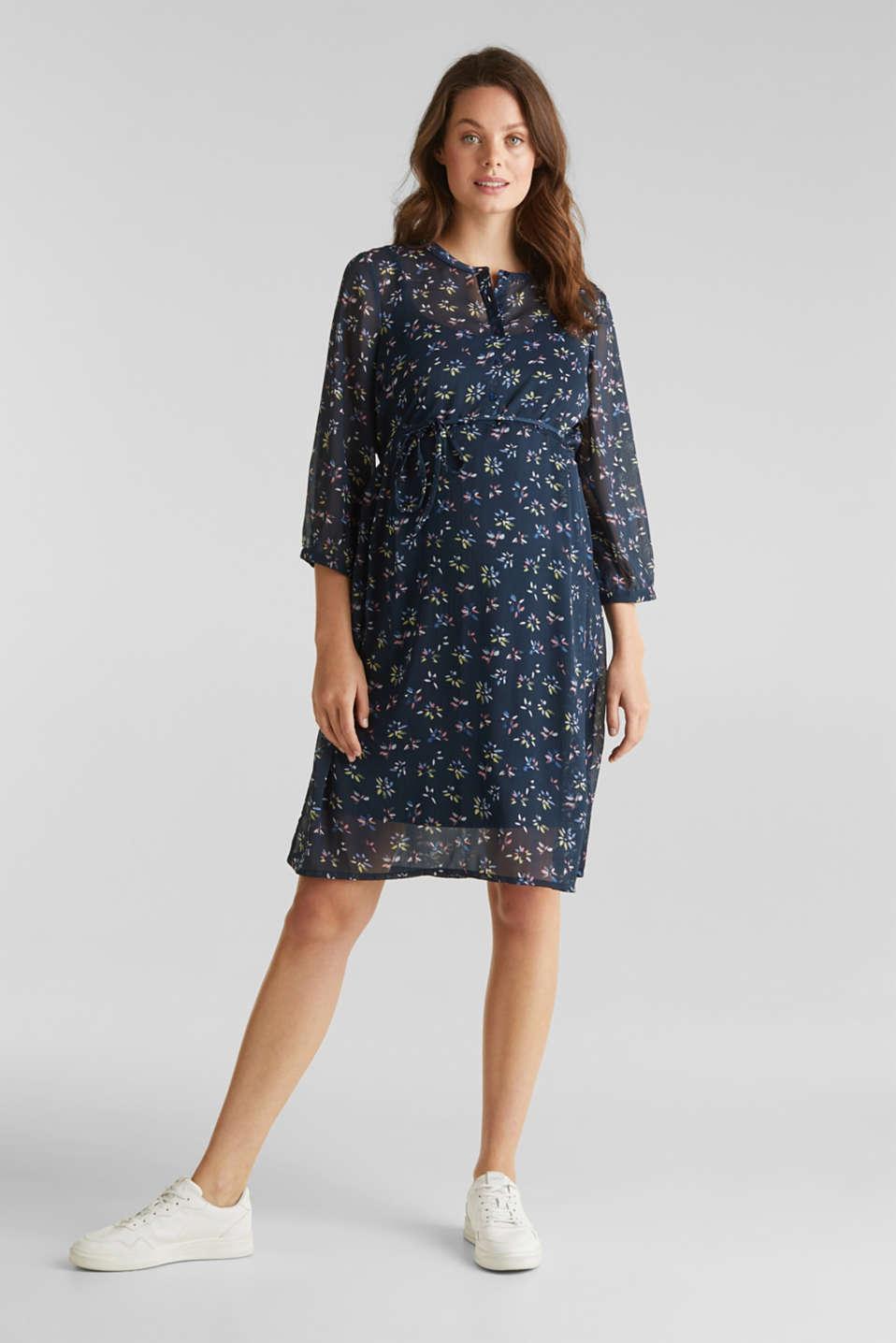 Chiffon nursing dress, LCNIGHT BLUE, detail image number 1