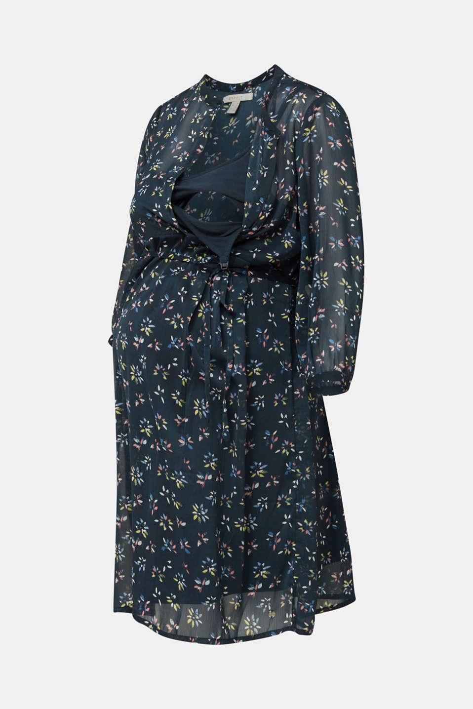 Chiffon nursing dress, LCNIGHT BLUE, detail image number 5
