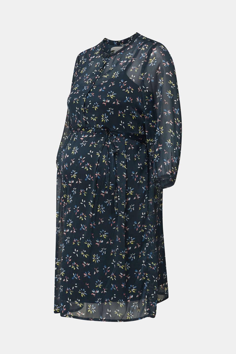 Chiffon nursing dress, LCNIGHT BLUE, detail image number 6