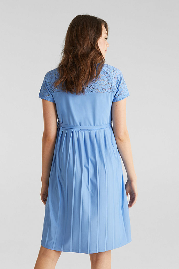 Stretch jersey dress with lace, BLUE, detail image number 2