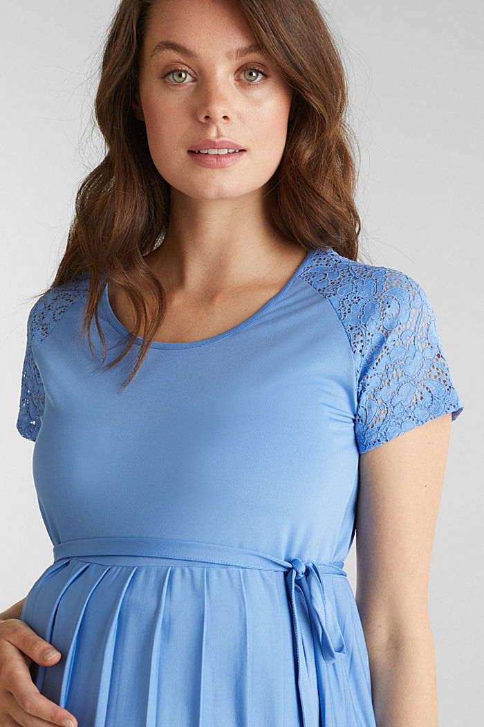 Stretch jersey dress with lace, BLUE, detail image number 3