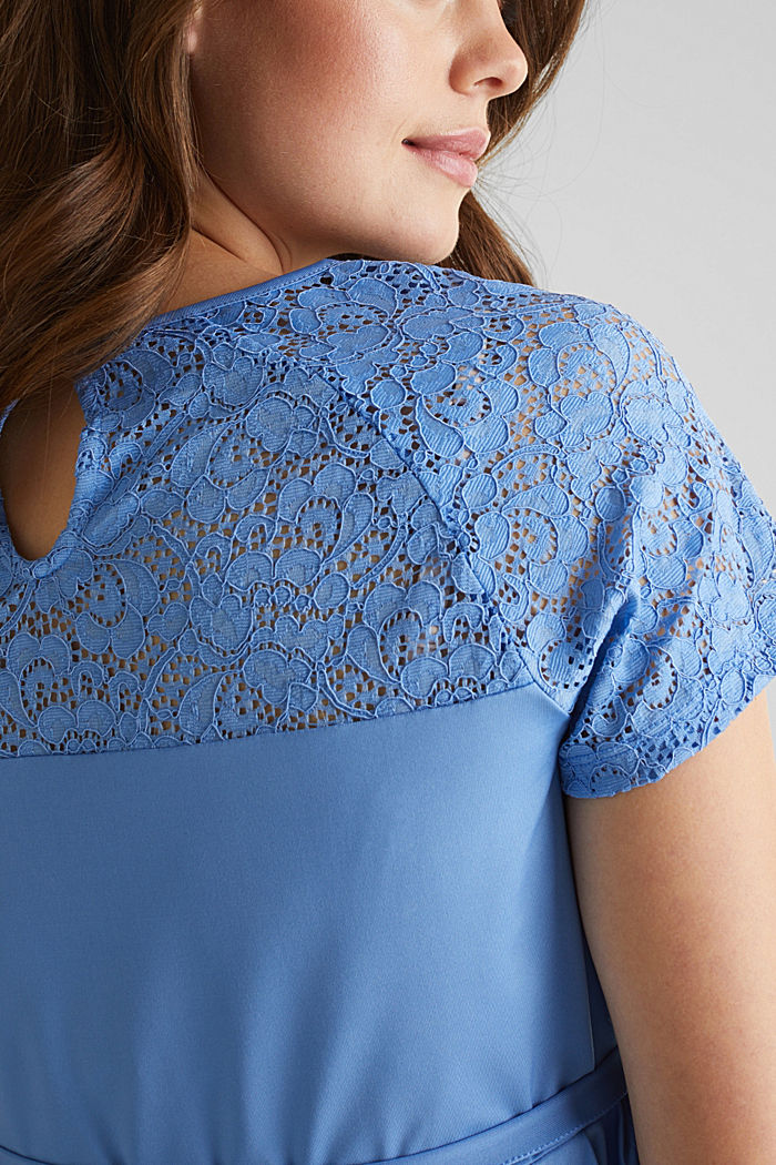 Stretch jersey dress with lace, BLUE, detail image number 5