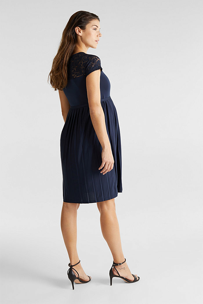 Jersey-Stretch-Kleid mit Spitze, NIGHT BLUE, overview
