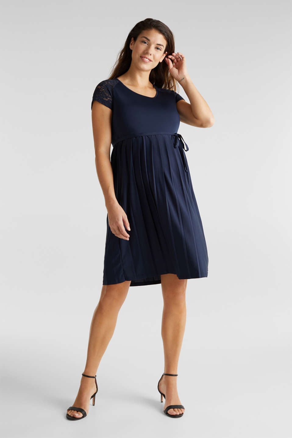 Stretch jersey dress with lace, LCNIGHT BLUE, detail image number 1