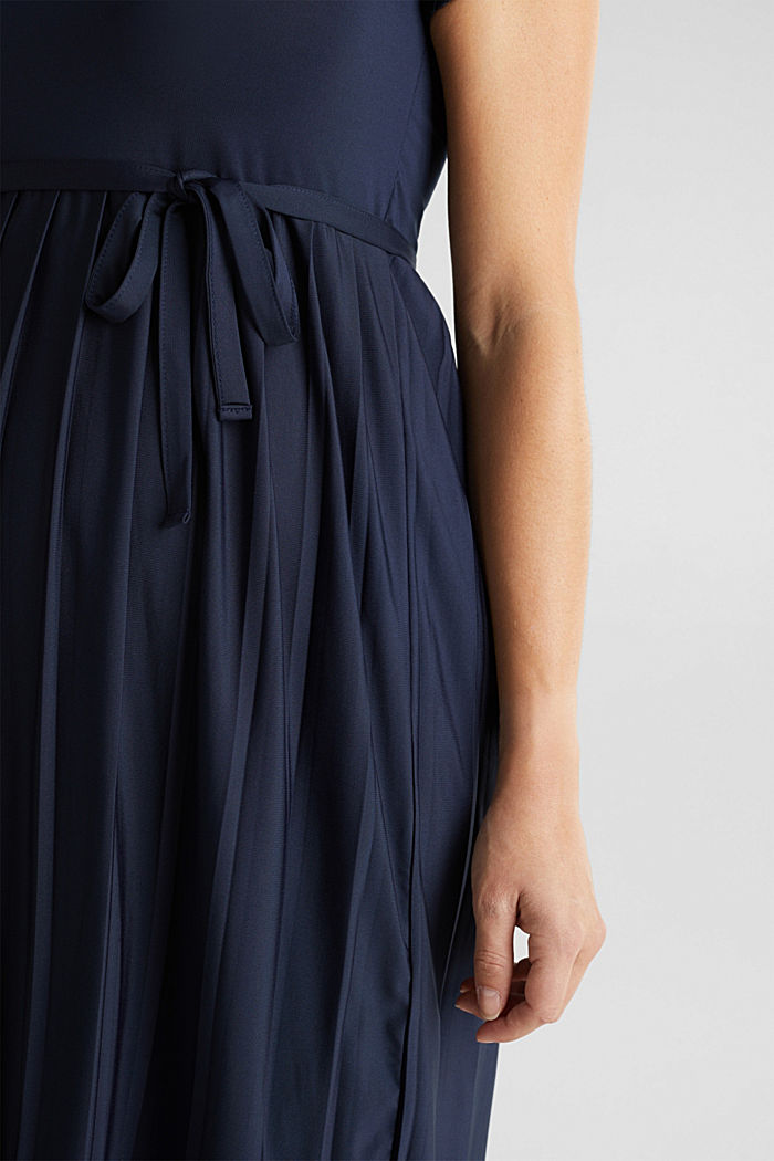 Stretch jersey dress with lace, NIGHT BLUE, detail image number 5