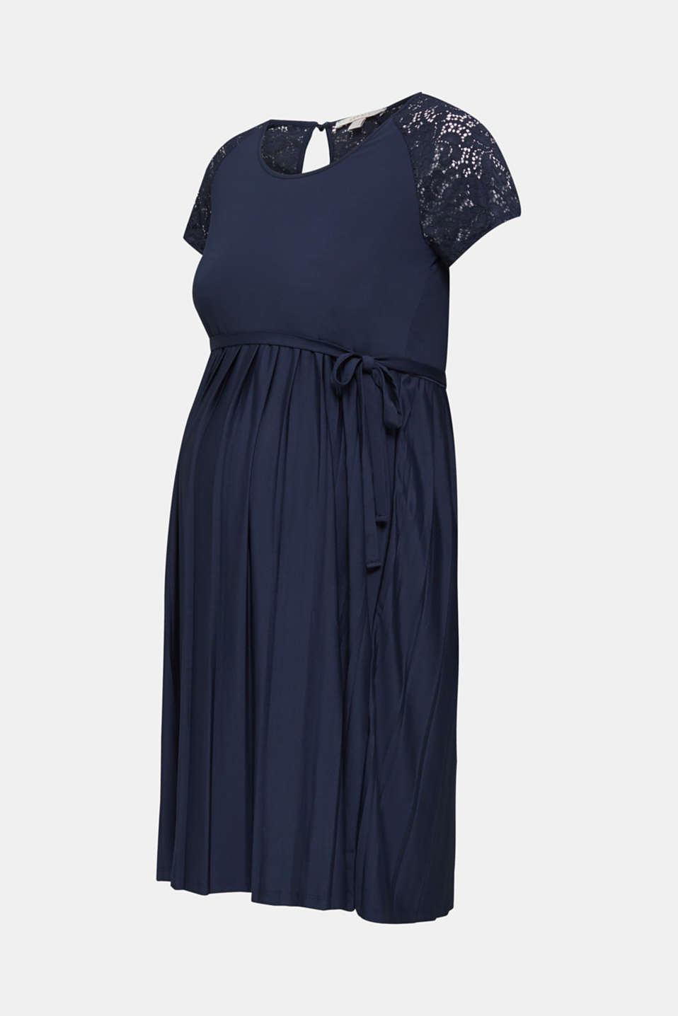 Stretch jersey dress with lace, LCNIGHT BLUE, detail image number 6