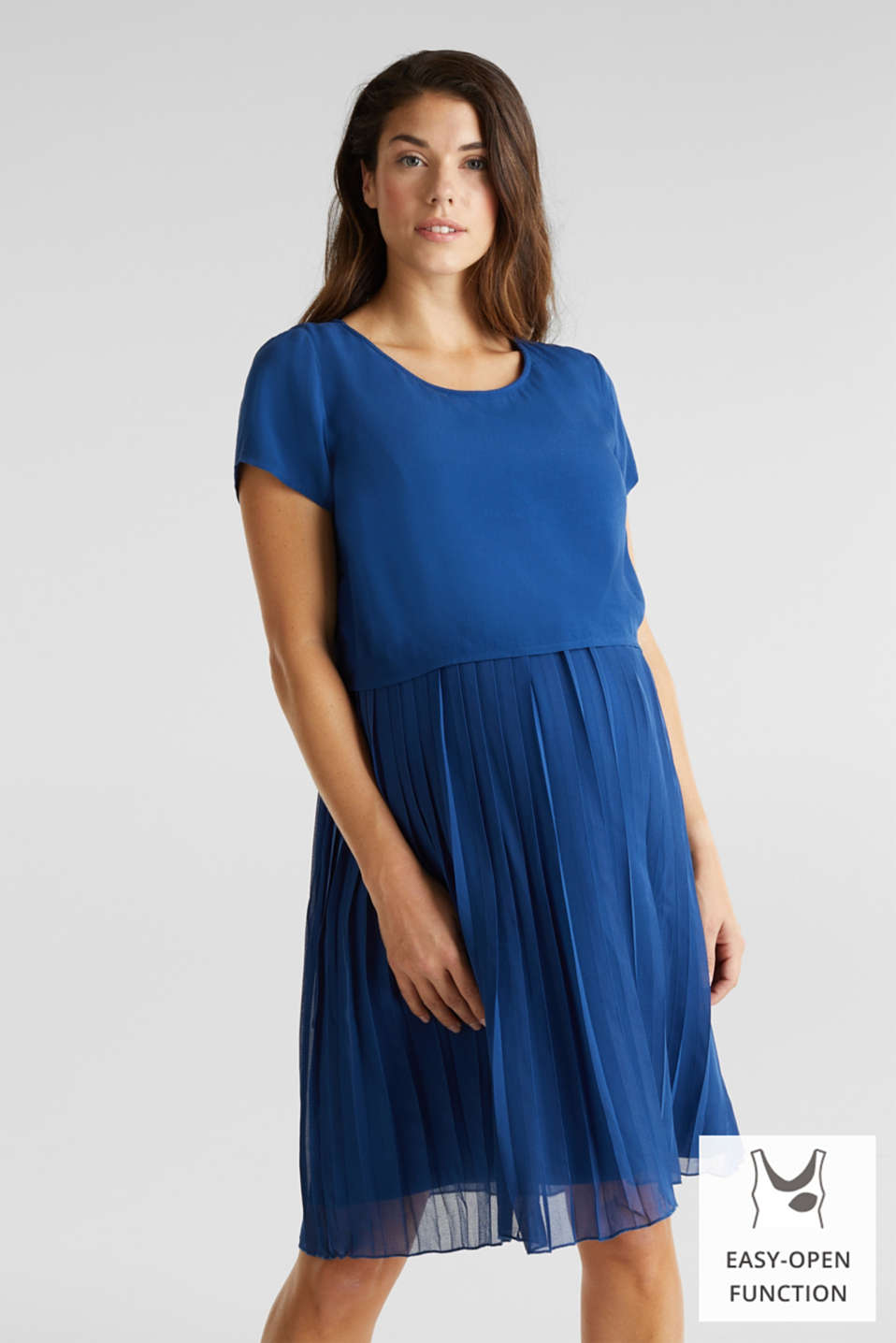 Dress featuring a pleated skirt and a nursing function, LCBRIGHT BLUE, detail image number 0