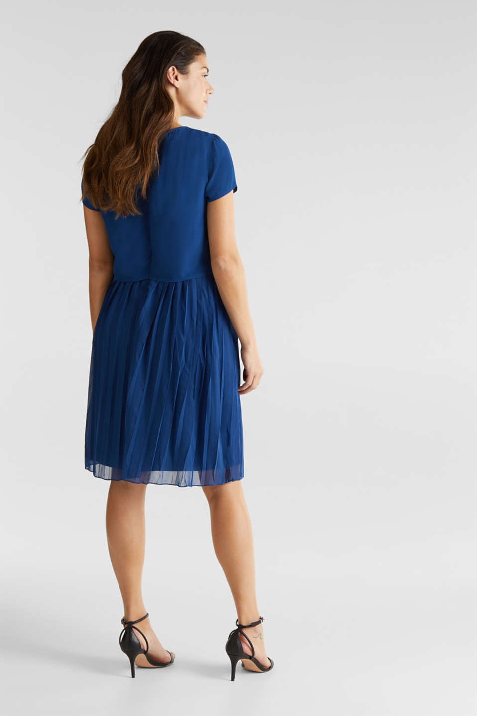 Dress featuring a pleated skirt and a nursing function, LCBRIGHT BLUE, detail image number 3