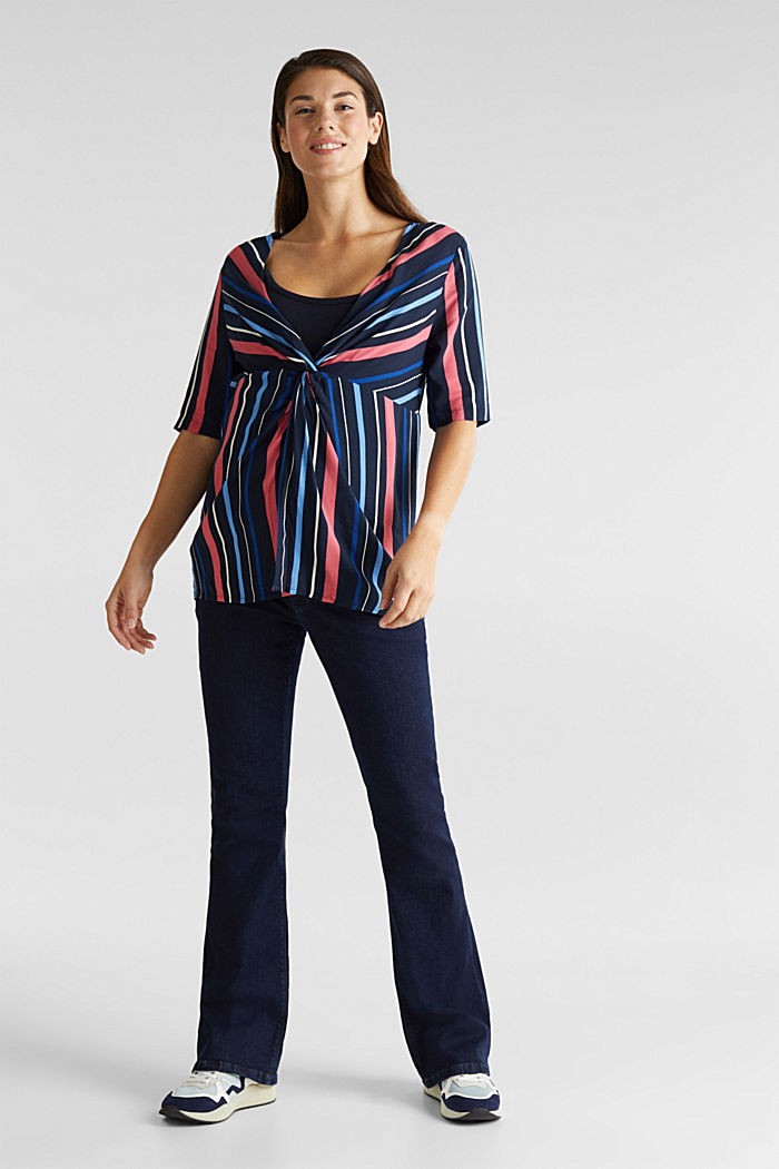 2-in-1: Striped blouse with a nursing top, NIGHT BLUE, detail image number 1