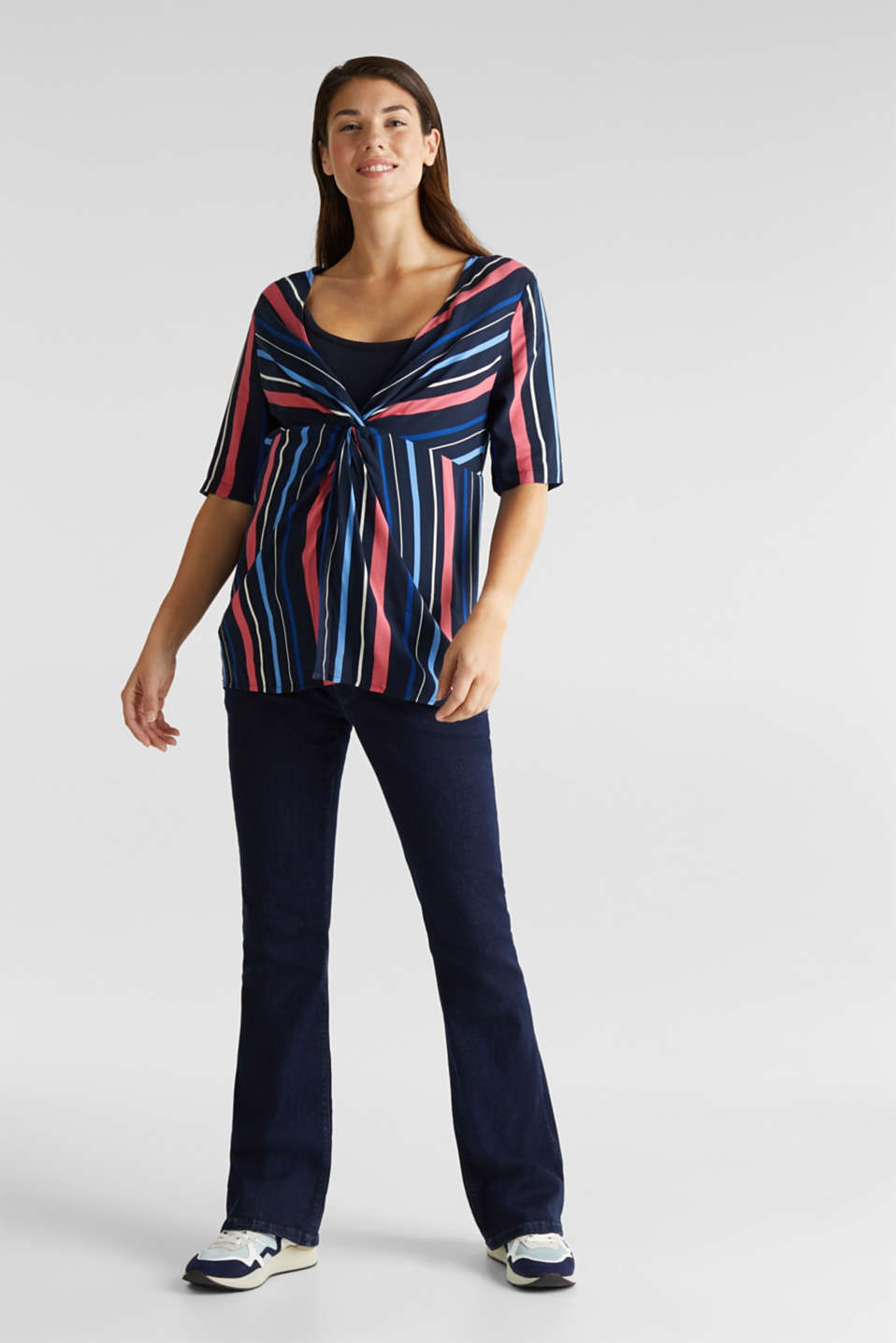 2-in-1: Striped blouse with a nursing top, LCNIGHT BLUE, detail image number 1