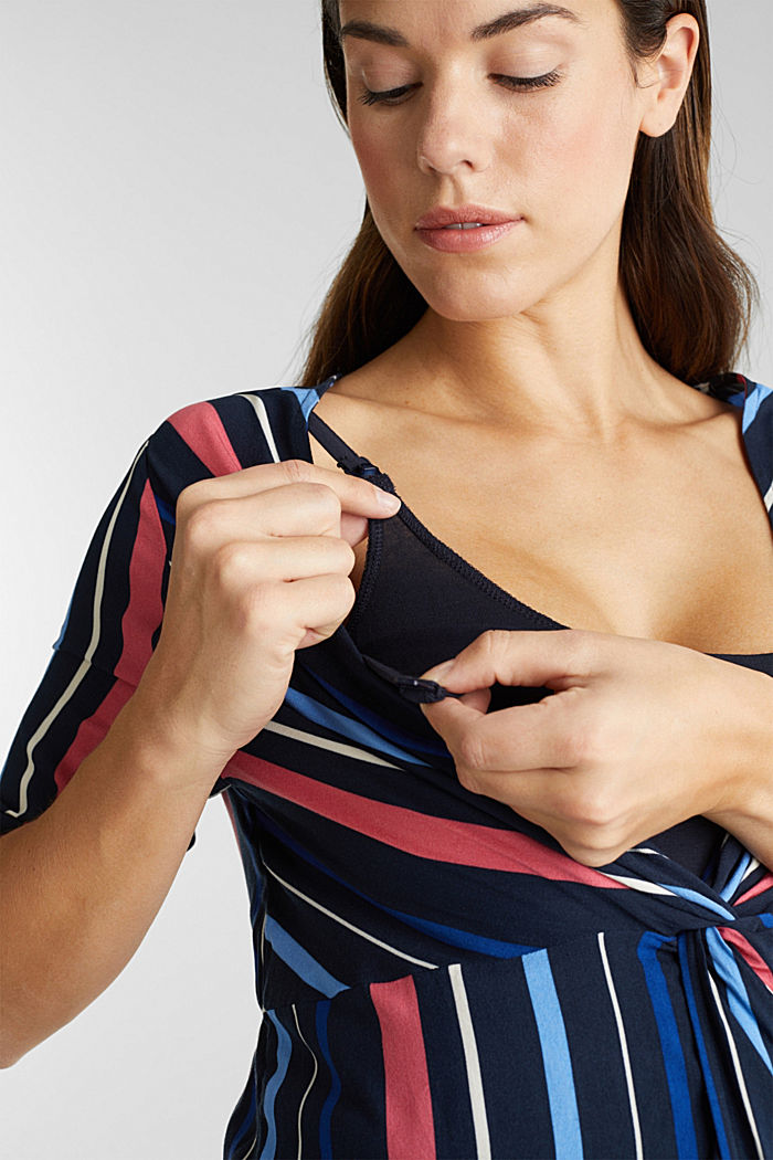 2-in-1: Striped blouse with a nursing top, NIGHT BLUE, detail image number 2