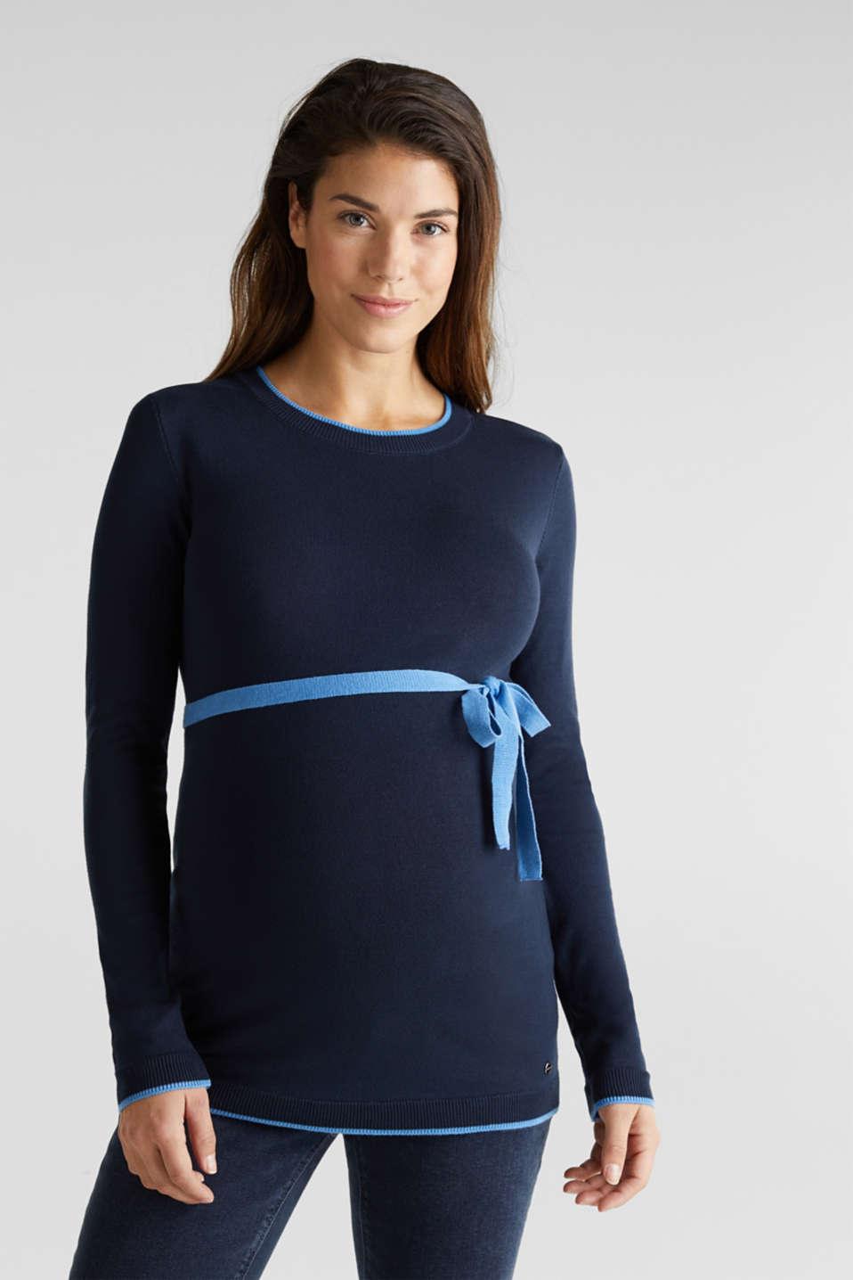 Jumper with contrasting details, LCNIGHT BLUE, detail image number 0