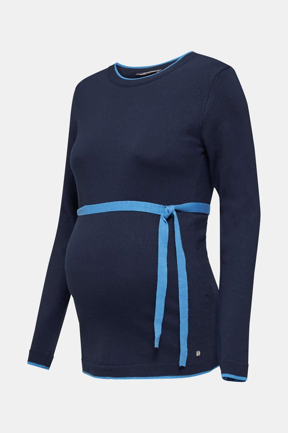 Jumper with contrasting details, LCNIGHT BLUE, detail image number 6