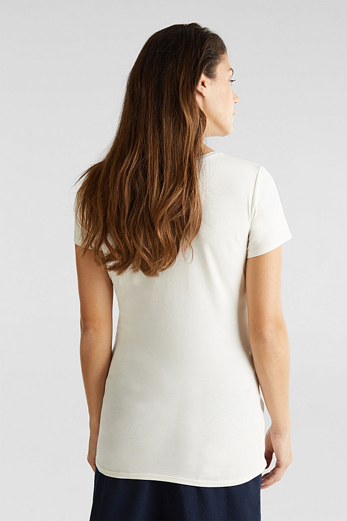Stretch top with a positioned print, OFF WHITE, detail image number 2