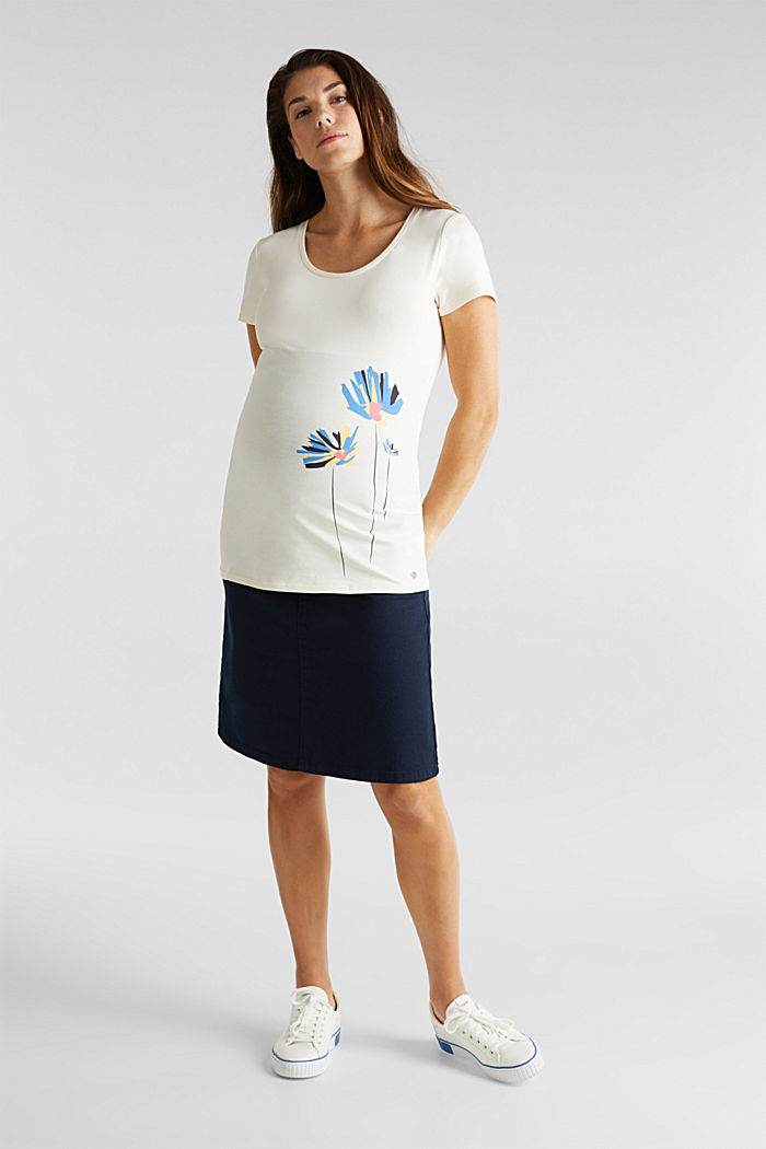 Stretch top with a positioned print, OFF WHITE, detail image number 1