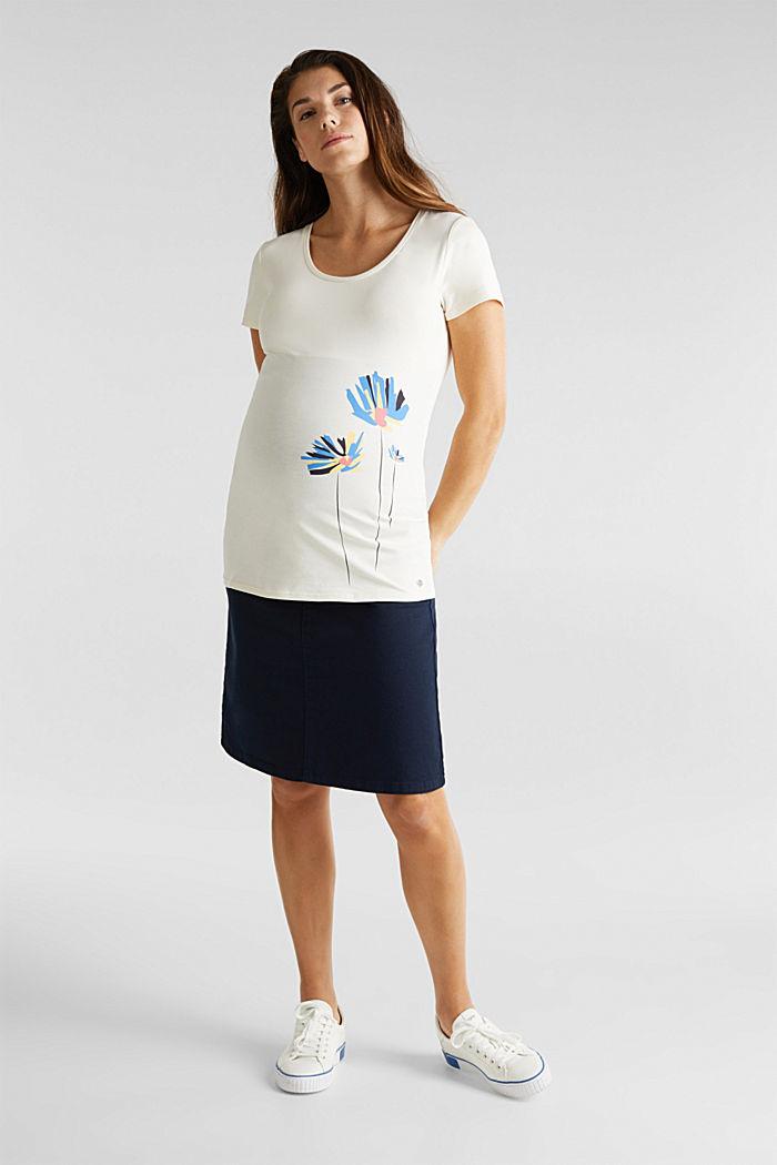 Stretch-Shirt mit platziertem Print, OFF WHITE, detail image number 1