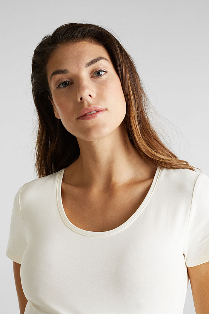 Stretch top with a positioned print, OFF WHITE, detail image number 5