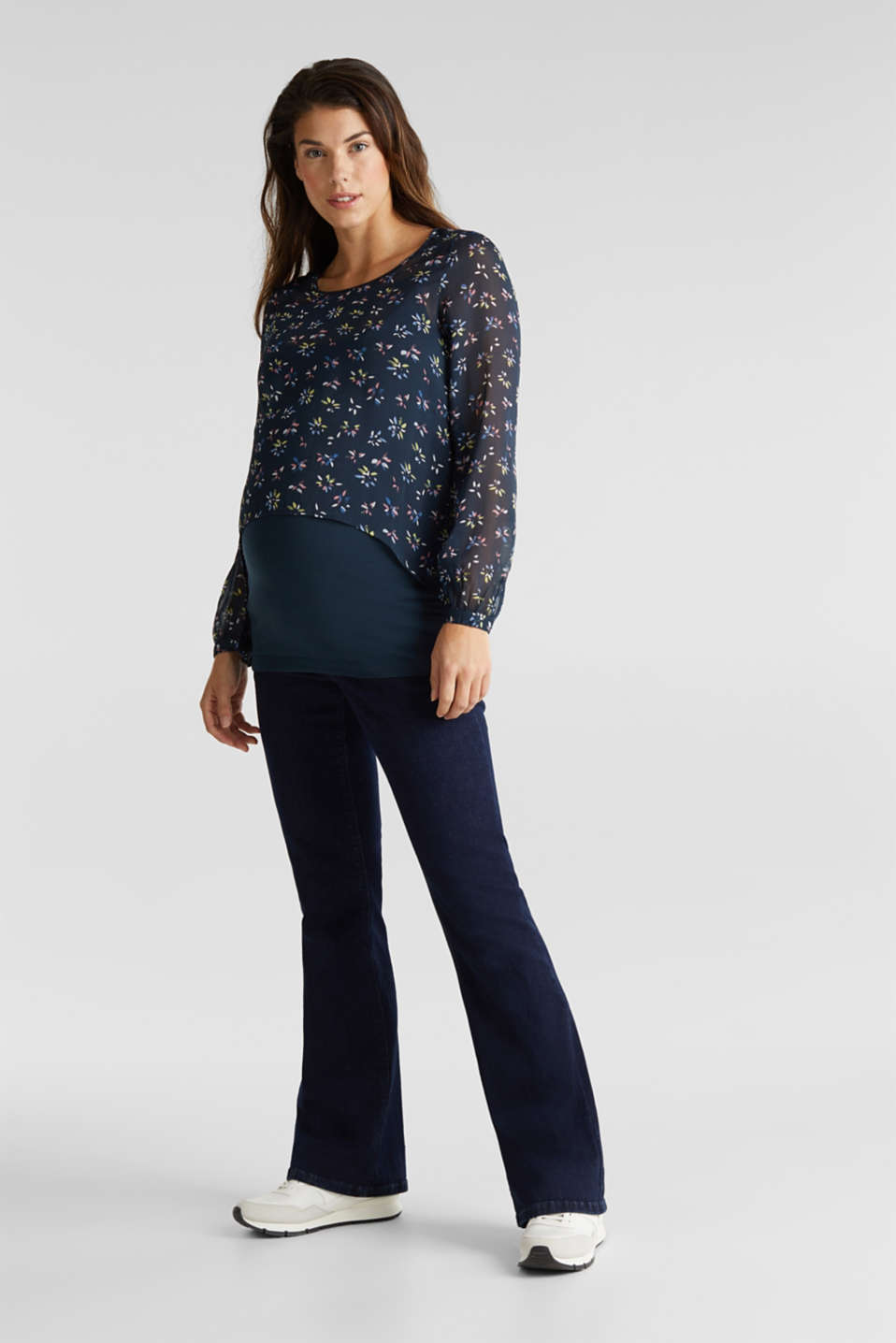 Long, layered blouse top with a nursing function, LCNIGHT BLUE, detail image number 1