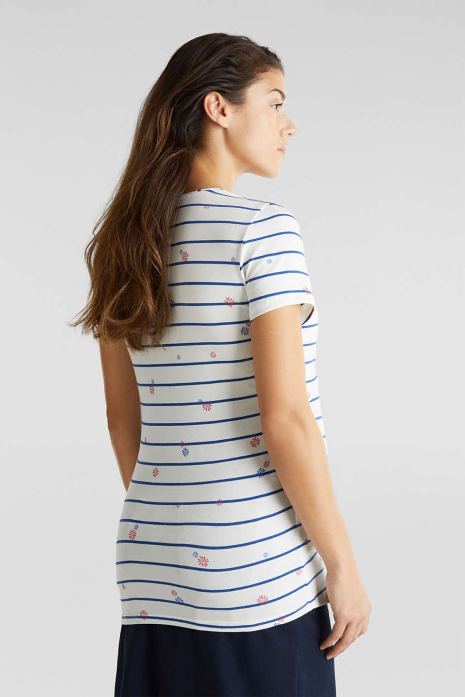 Stretchy nursing top with a mixed pattern, LCOFF WHITE, detail image number 2