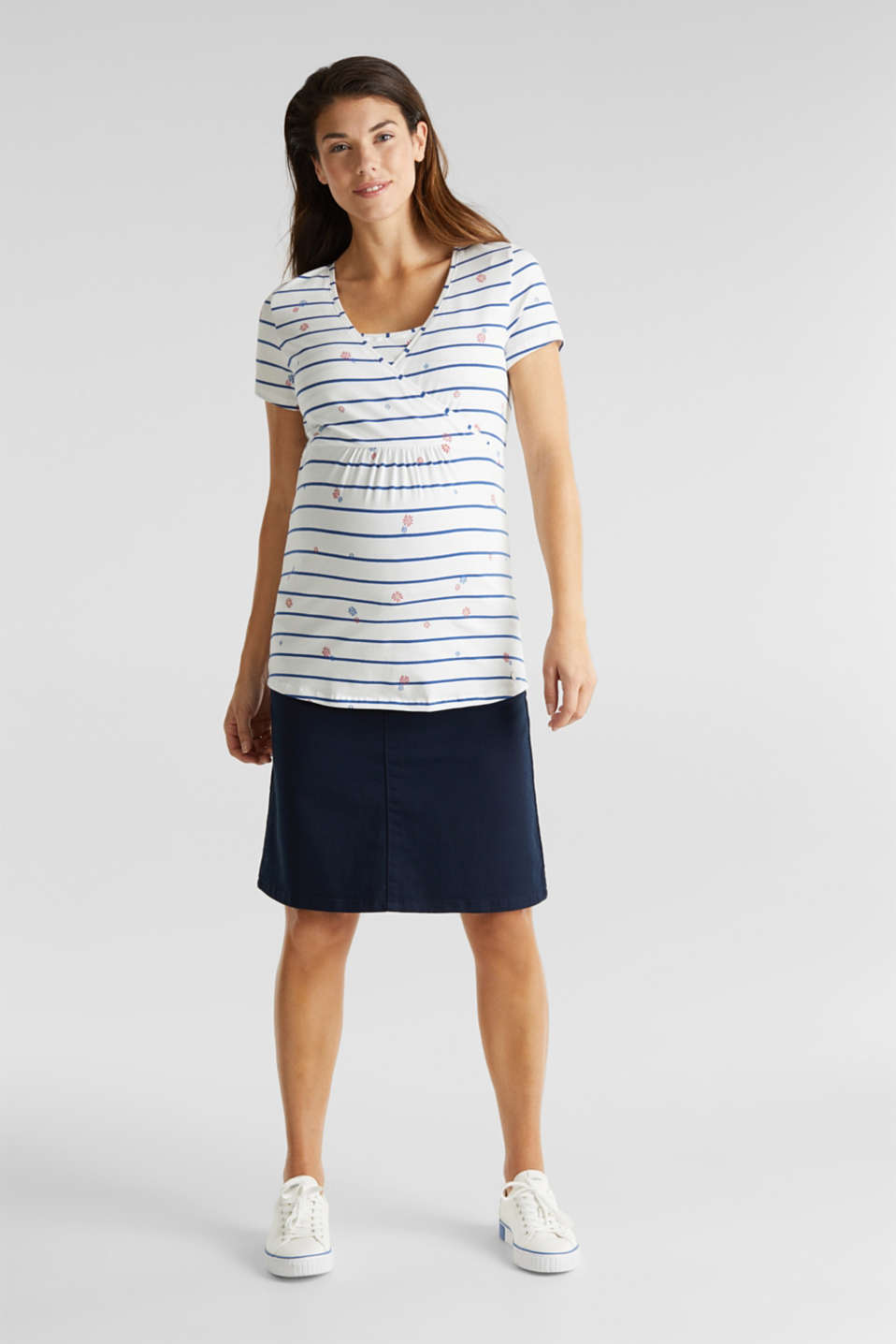 Stretchy nursing top with a mixed pattern, LCOFF WHITE, detail image number 1
