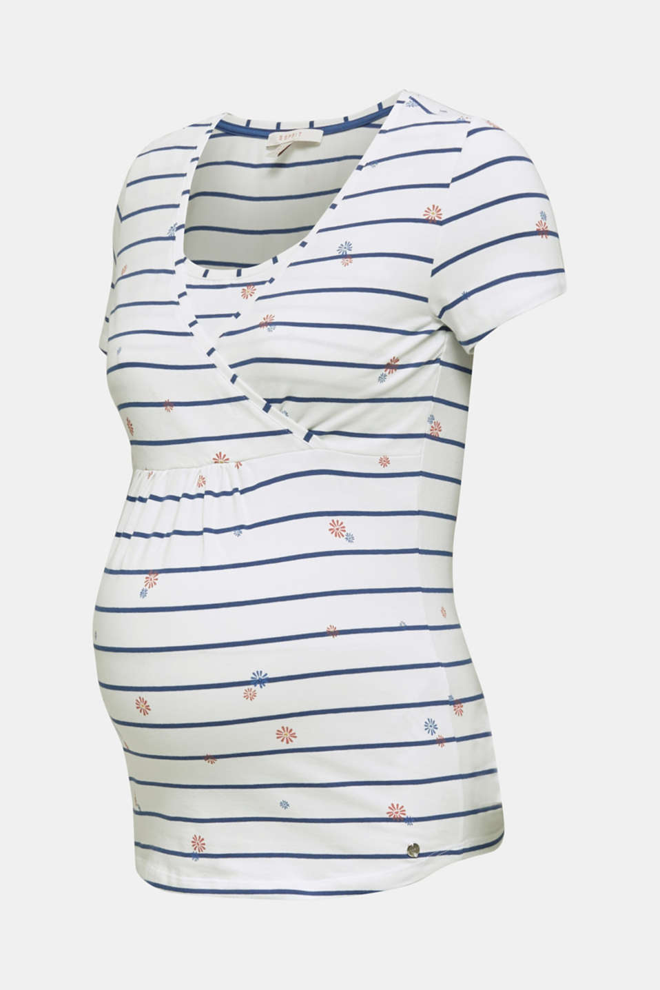 Stretchy nursing top with a mixed pattern, LCOFF WHITE, detail image number 5