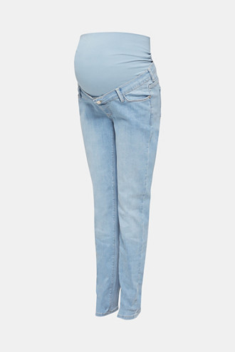 Bleached jeans with an over-bump waistband