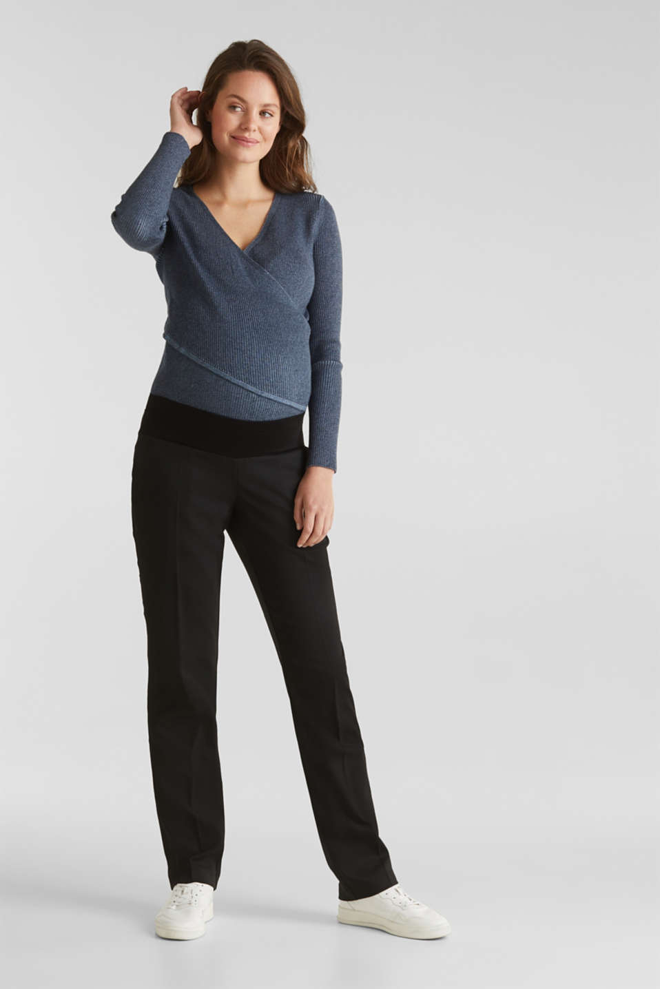 Esprit - Business pantalon met onder de buik vallende band