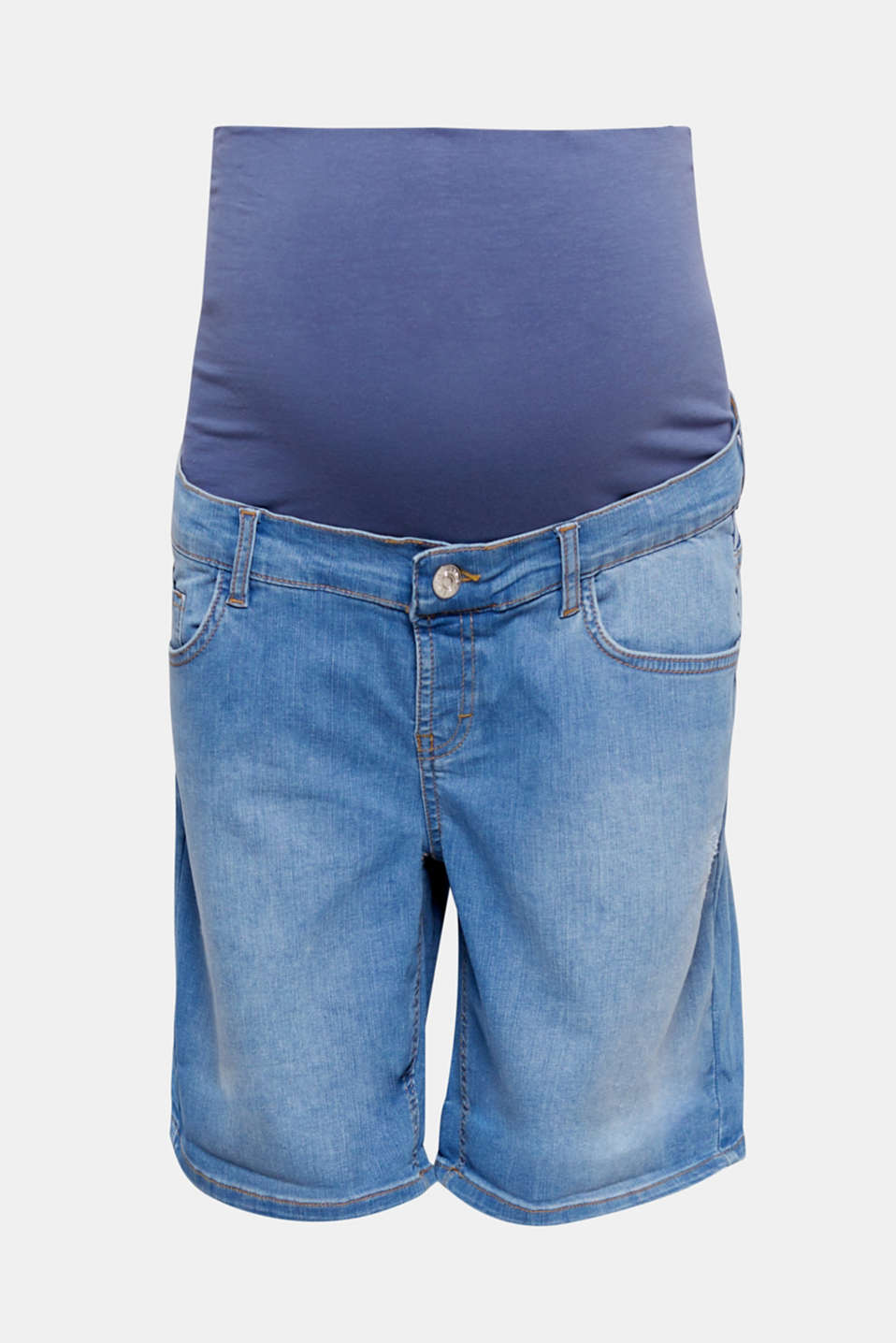 These short boyfriend jeans are casual and comfortable with stylish bleached effects and an over-bump waistband!