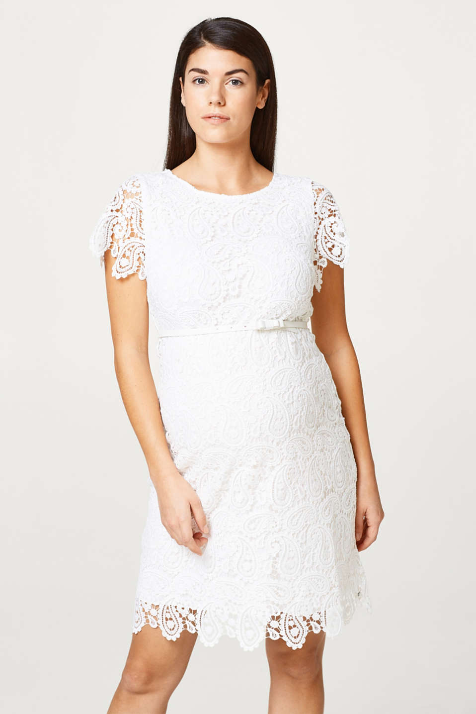 Occasionwear lace dress + belt, LCOFFWHITE, detail image number 0