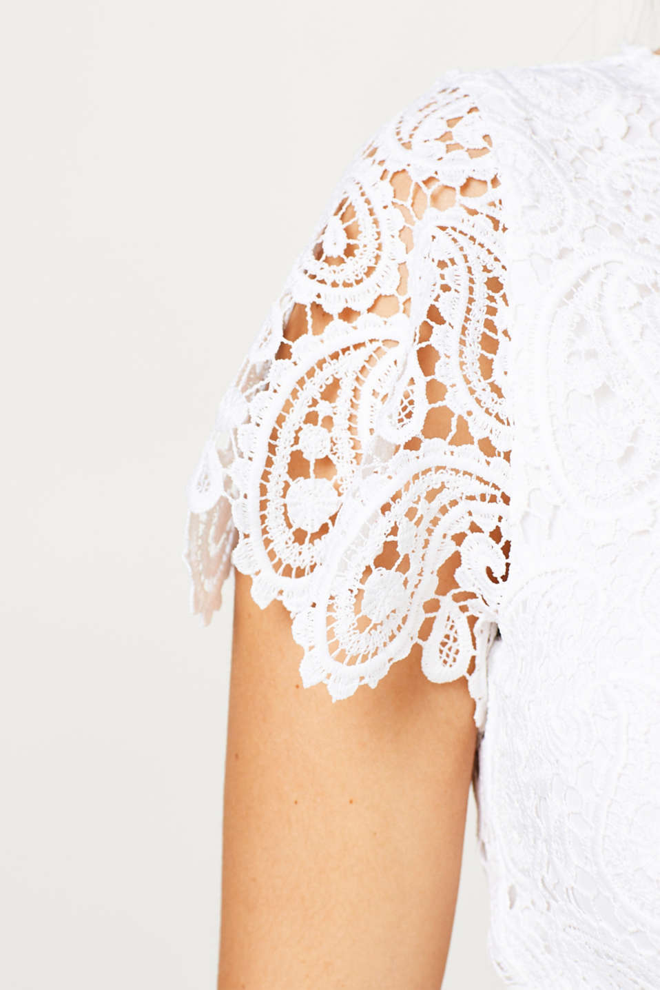 Occasionwear lace dress + belt, LCOFFWHITE, detail image number 4
