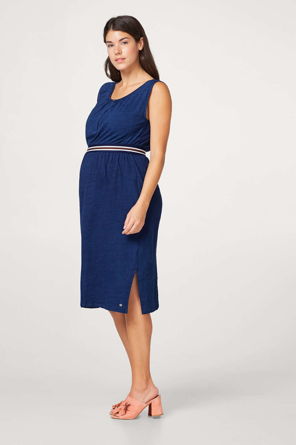 Airy slub jersey dress with a nursing function