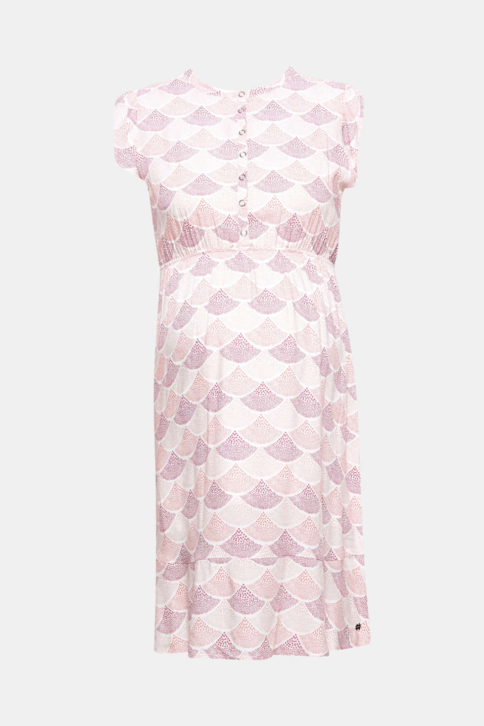 A feminine shell pattern and romantic frills: this dress with a nursing function allows for discreet nursing.