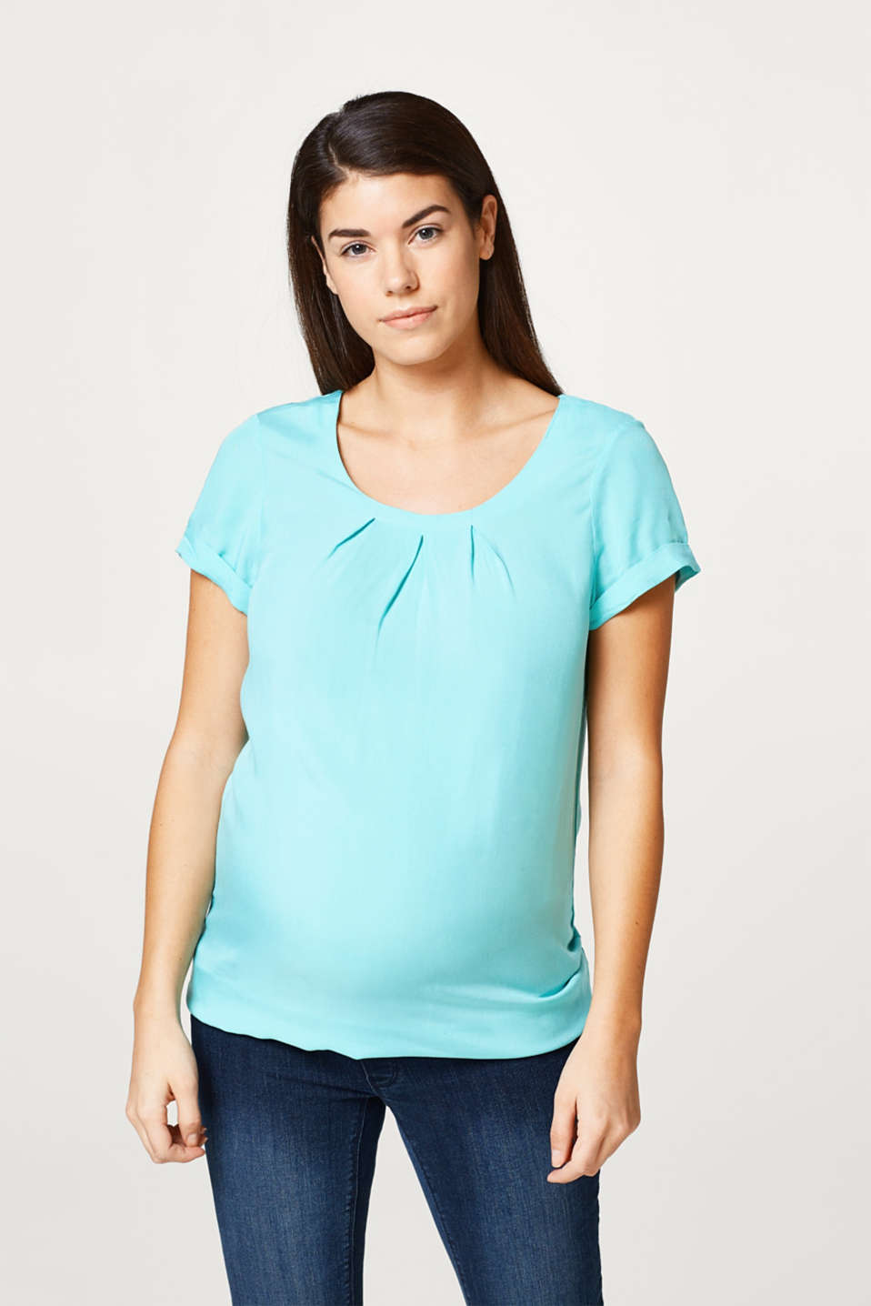 Esprit - Lightweight blouse with a pleated neckline