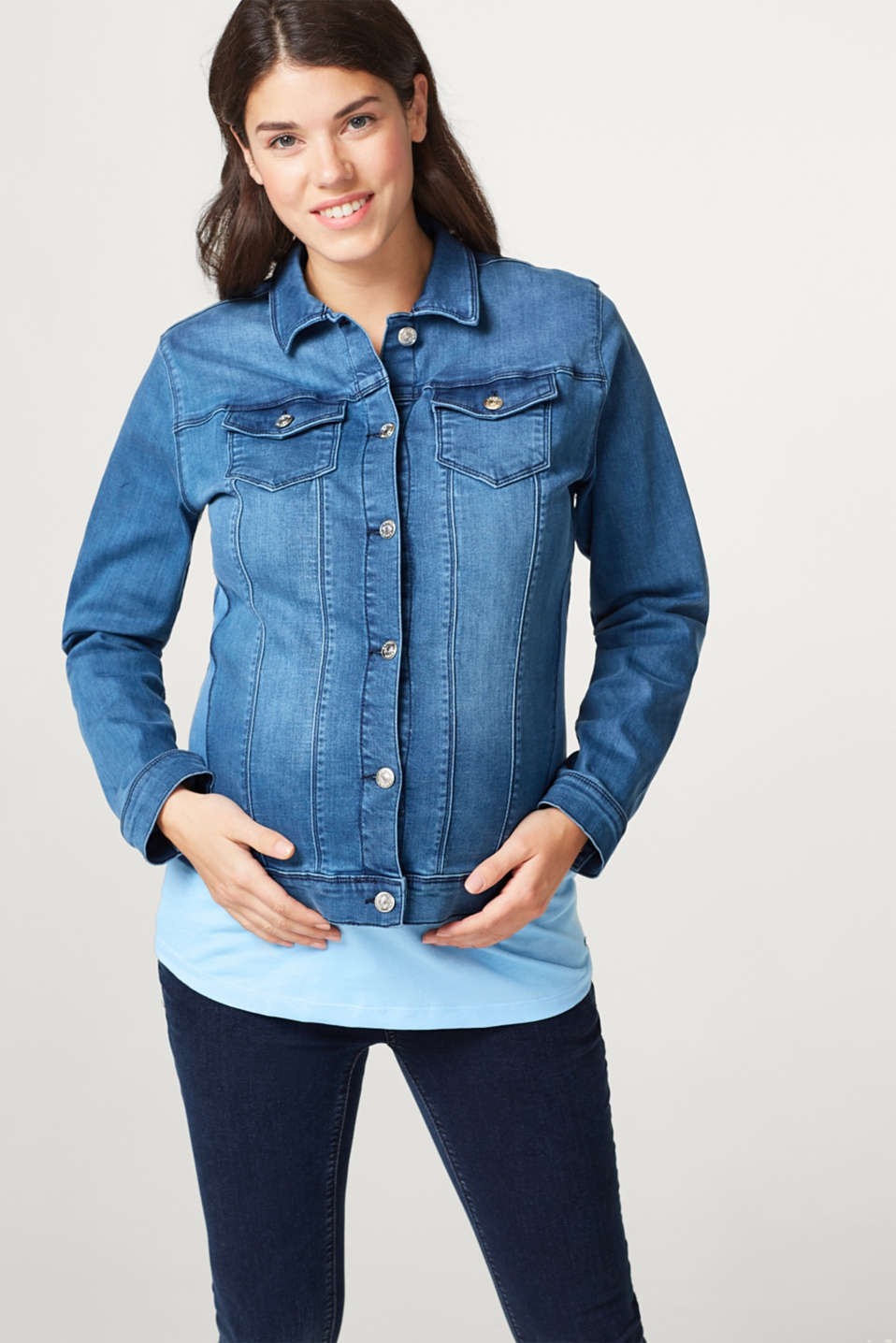 Esprit - Denim jacket with added stretch for comfort and jersey inserts
