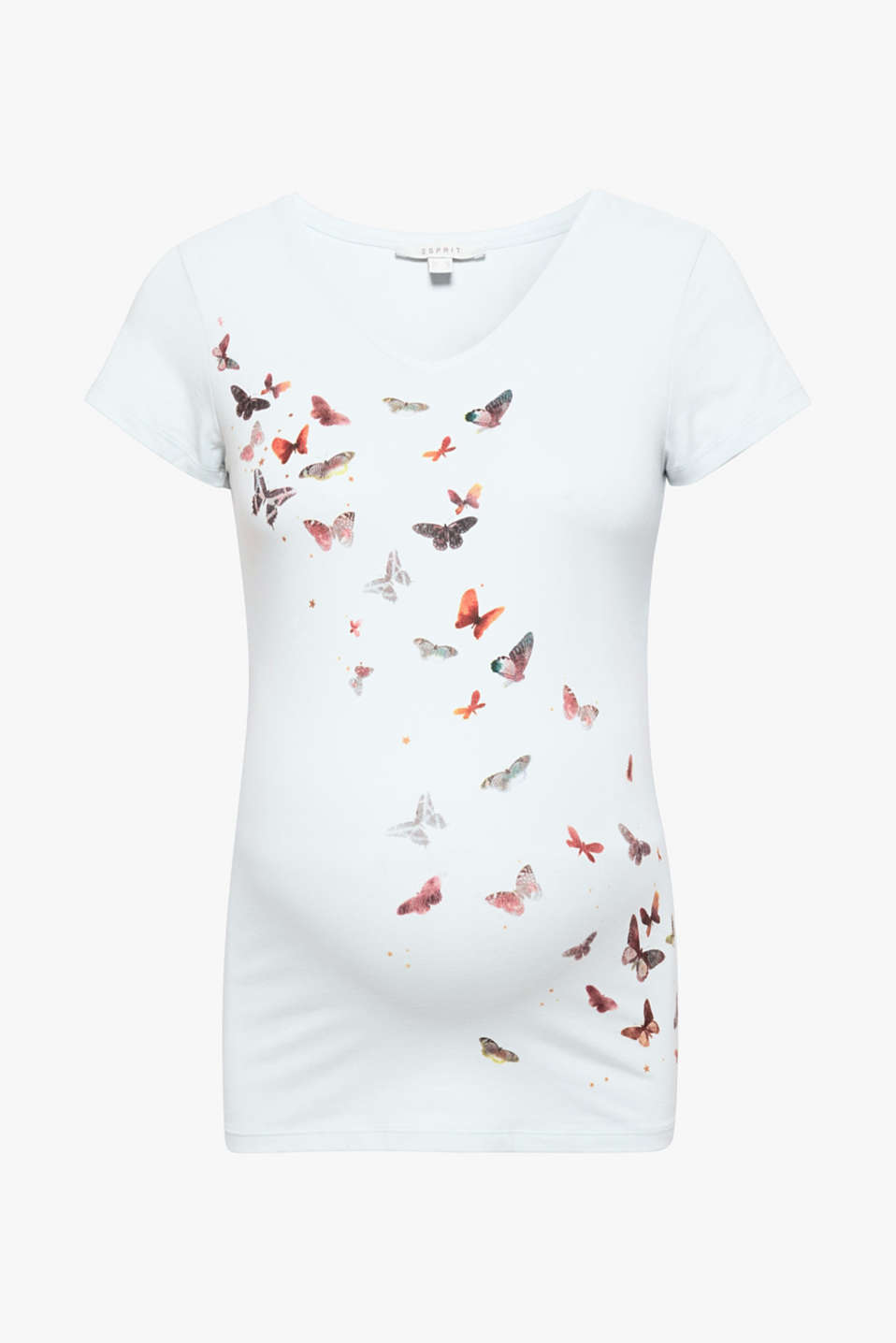 The spring-ready butterfly print on the front makes this maternity top a comfortable companion with stretch.