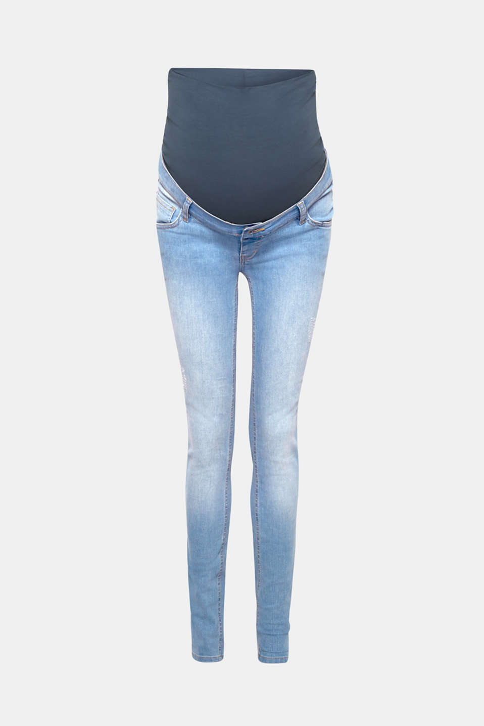 Fashion and function united: coolly styled stretch jeans with a destroyed finish and adjustable, over-bump waistband!