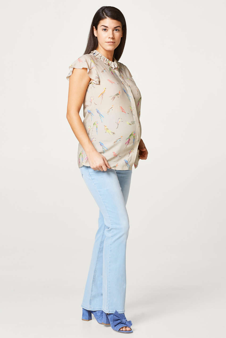 Esprit - Stretch flared jeans, over-bump waistband
