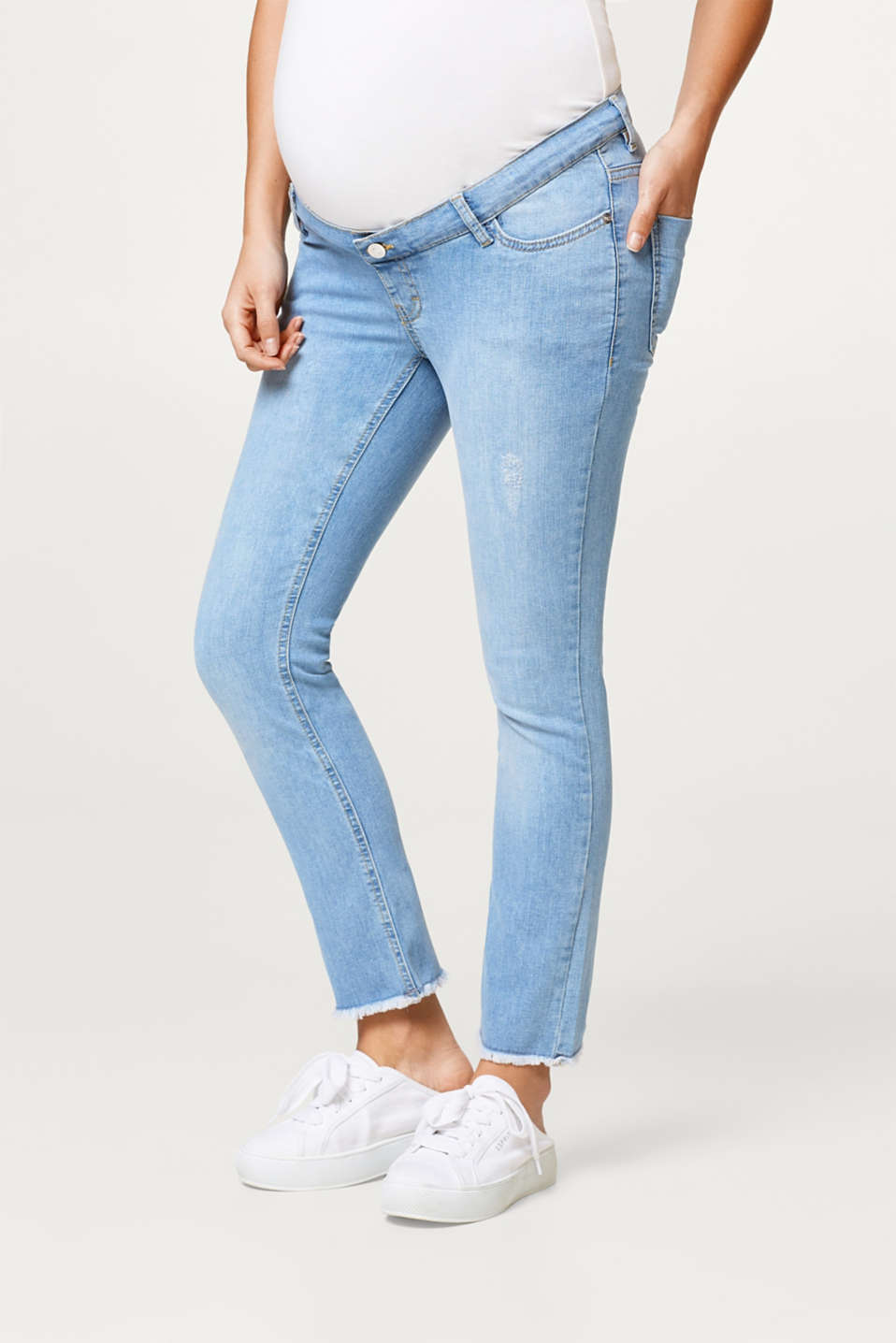 Esprit - Stretchjeans met used details en band over de buik