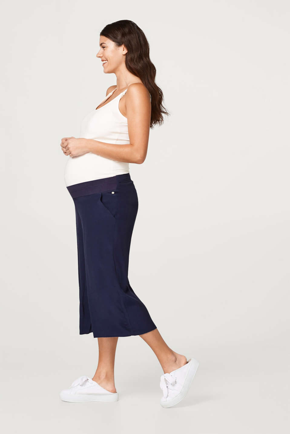 Culottes with an over-bump waistband