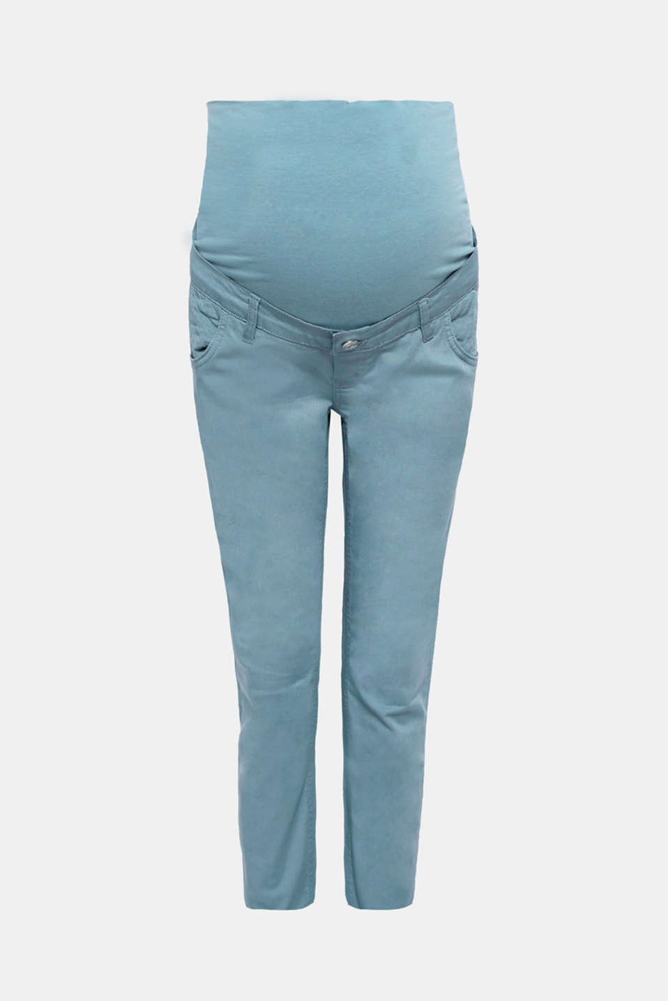Esprit - Stretch trousers with decorative stitching and an over-bump waistband