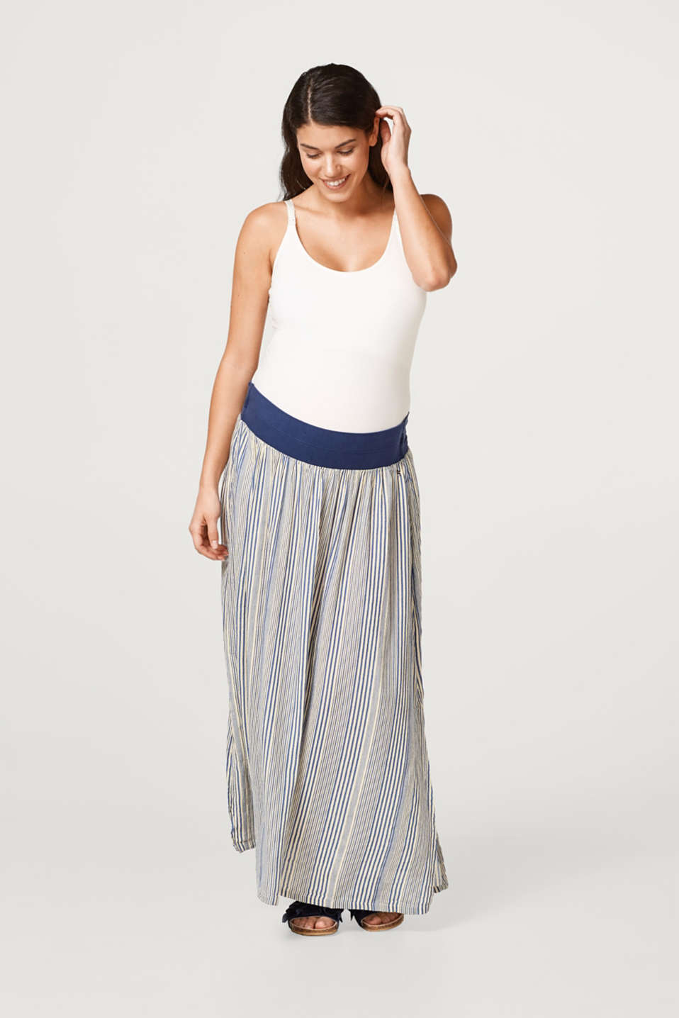 Esprit - Linen blend maxi skirt with an under-bump waistband