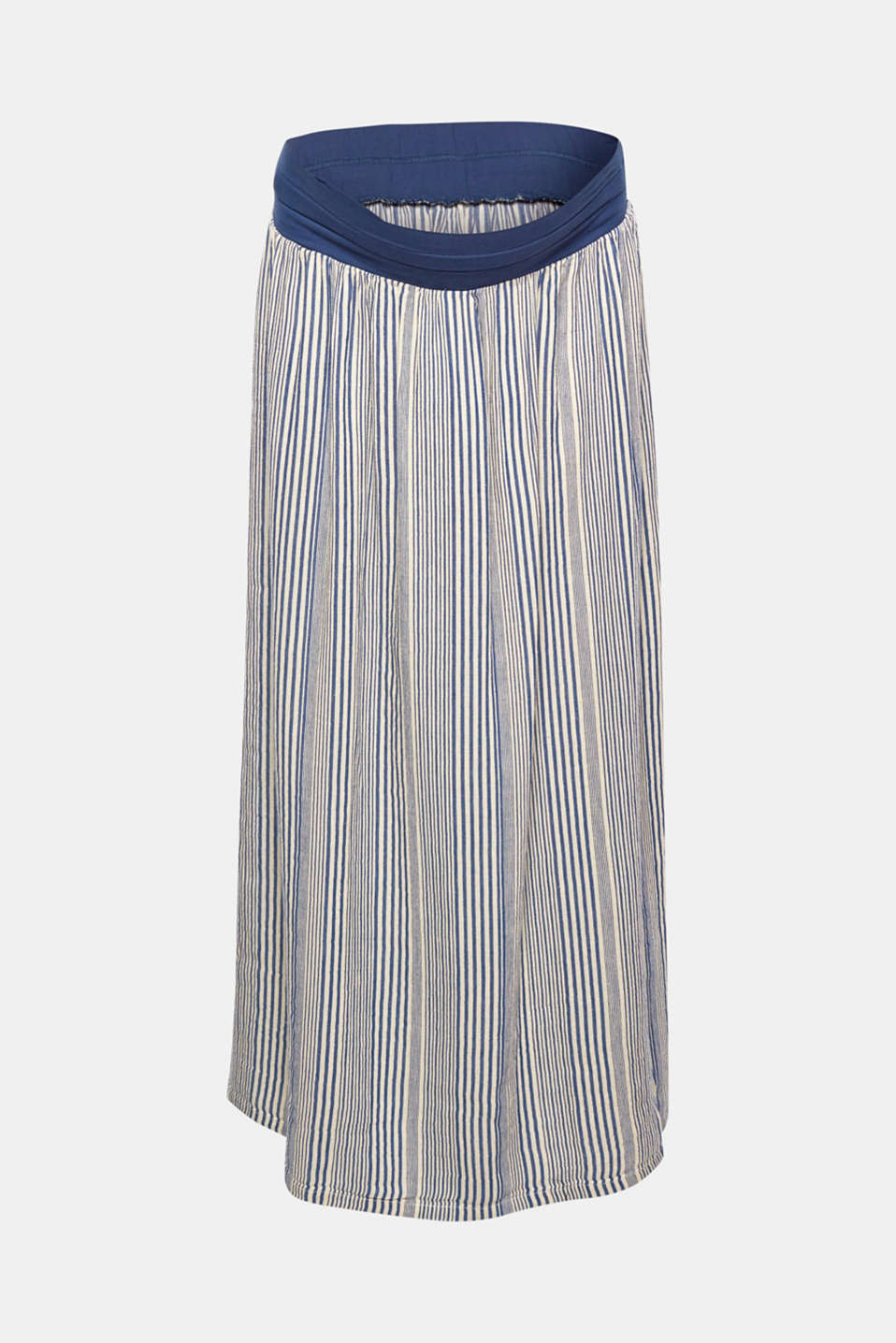 The trendily striped, cool linen blend fabric emphasises the airy look of this maxi skirt that comes with a supporting, under-bump waistband and deep side slits.