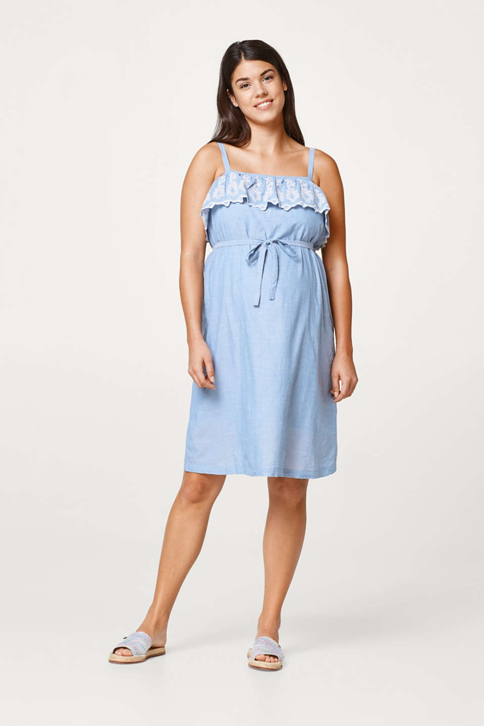 Esprit - Embroidered off-the-shoulder dress, 100% cotton