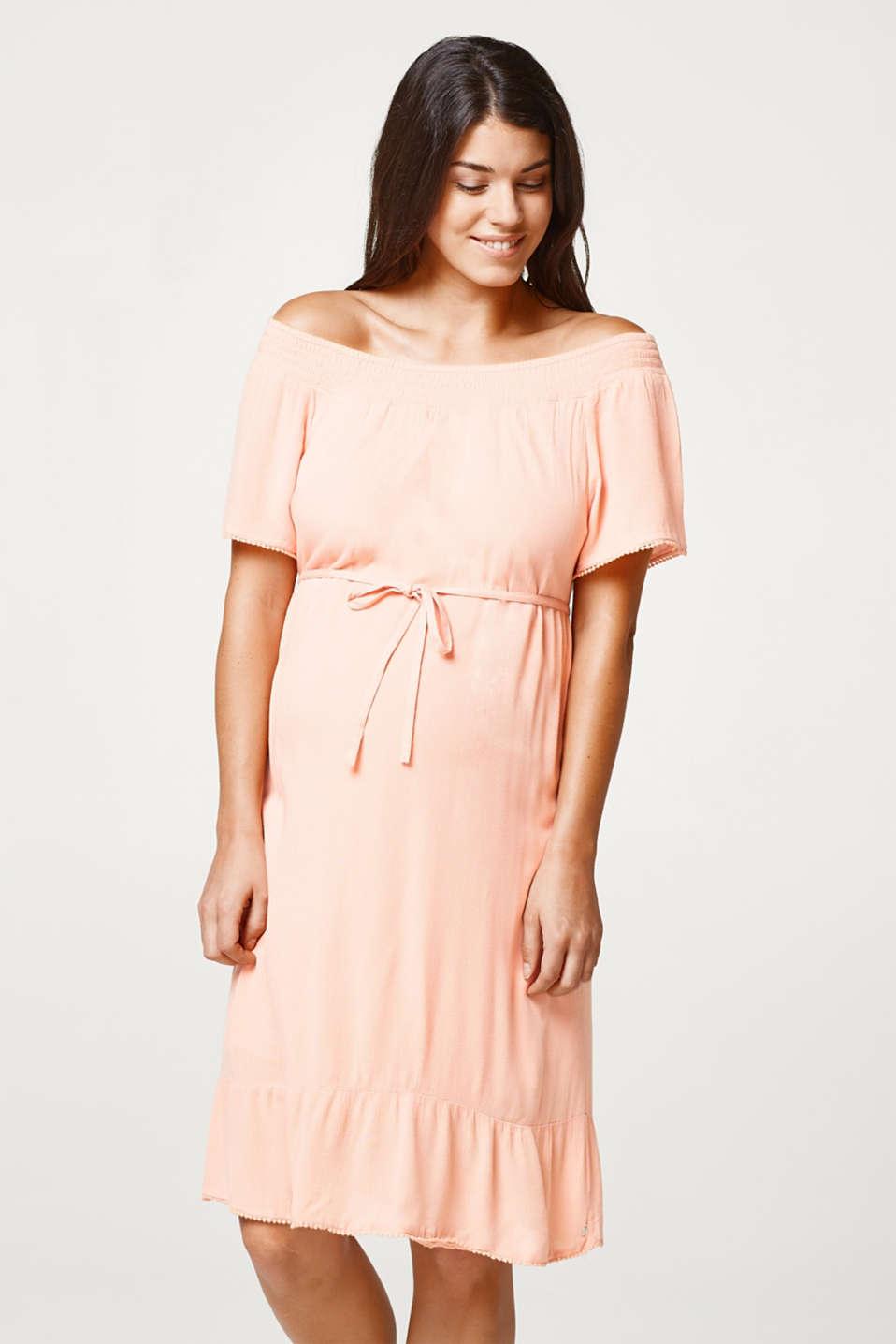Flowing crinkle dress with dainty borders, LCROSE BRICK, detail image number 0
