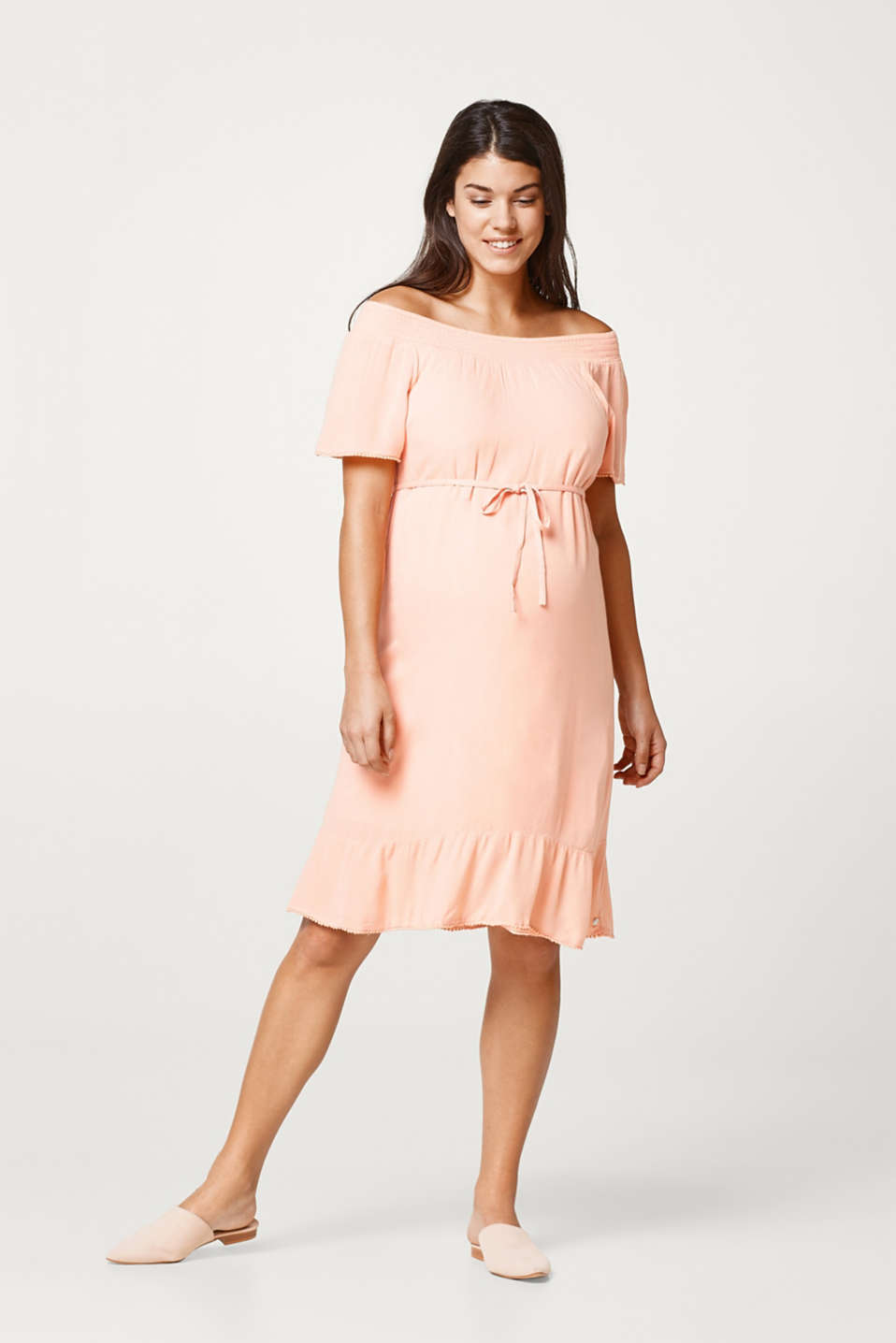 Flowing crinkle dress with dainty borders